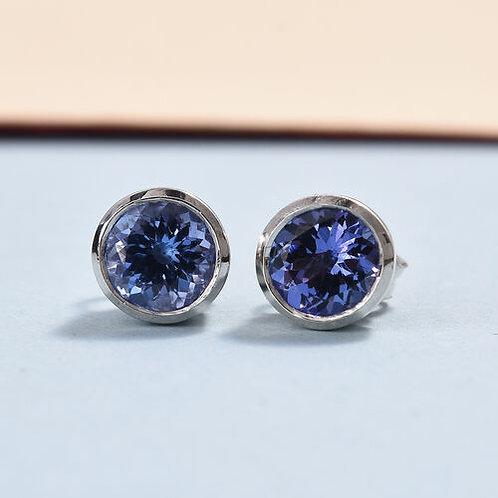 Tanzanite 5 mm round cut bezel set Gold earrings