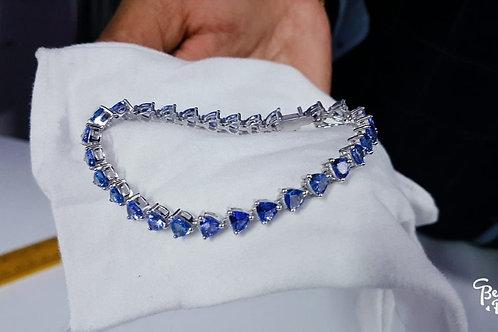 11 ct TanzaniteTrillion Cut Bracelet set in Sterling Silver