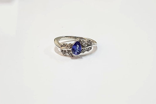 Tanzanite and Zircon 9k Gold Pear Cut Ring