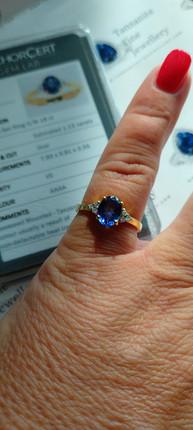Tanzanite and Diamond 18k Yellow Gold ring custom made