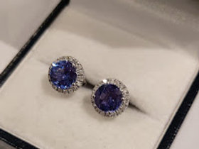 2.40 ct Tanzanite and Diamond Sterling Silver Earrings