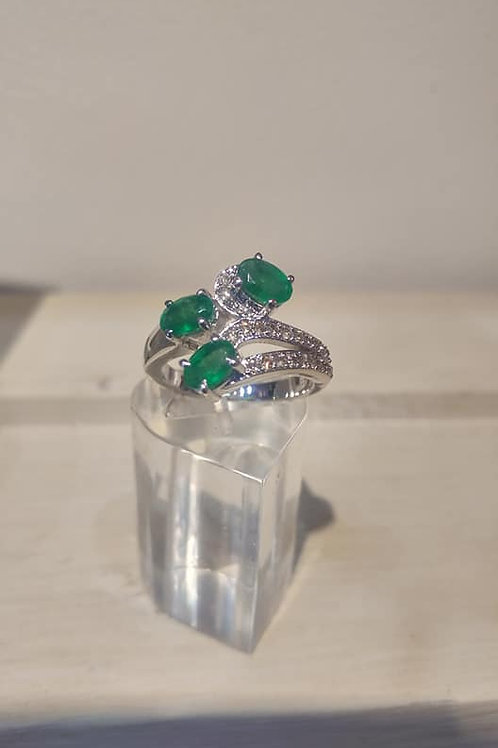3 stone Emerald and Diamond Ring in Sterling Silver