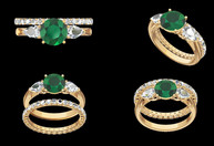 CAD image for an Emerald and Diamond Engagement and Wedding ring set