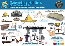Les VoilesNomades, les EcoTipis, le matériel divers.