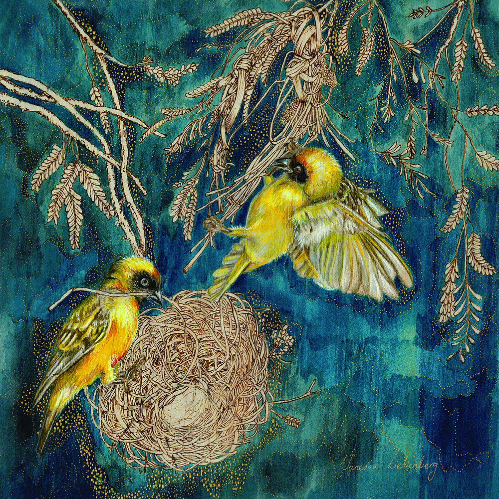 two golden birds on a nest