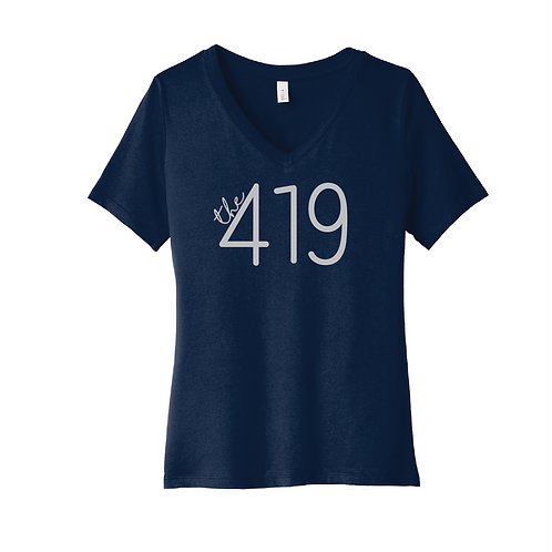BELLA+CANVAS ® Women's Relaxed Jersey Short Sleeve V-Neck Tee - 6405 - Navy