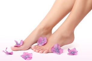 Beautiful women's legs with little purpl