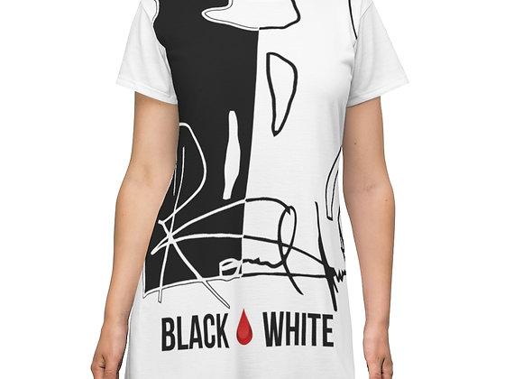 T-Shirt Dress Black And White