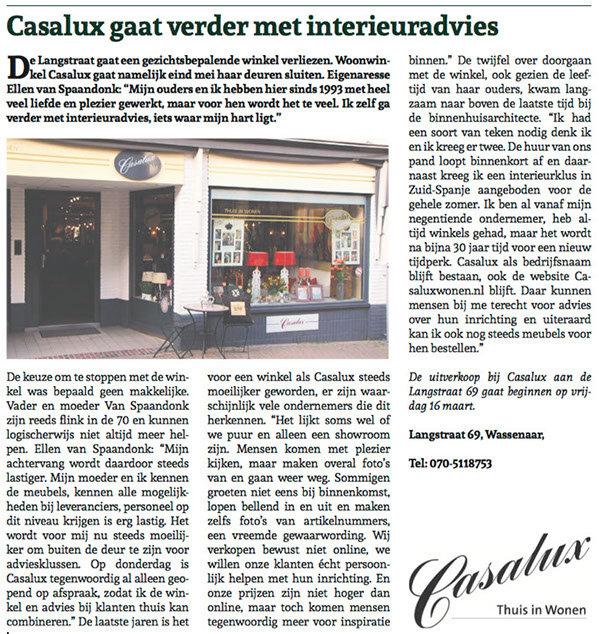 Uitgave Wassenaarse krant maart 2018 Casalux interieuradvies