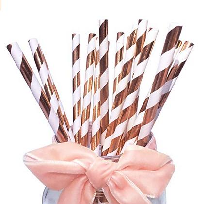Rose Gold Striped Straws