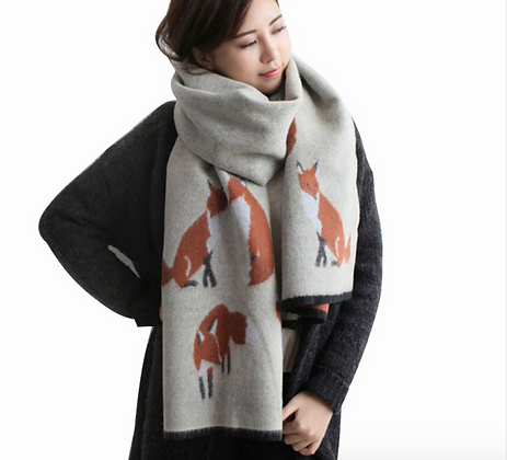 Cute Winter Scarf with Foxes