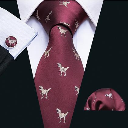 Dinosaur Pattern Tie Cufflinks Pocket Square Gift Idea