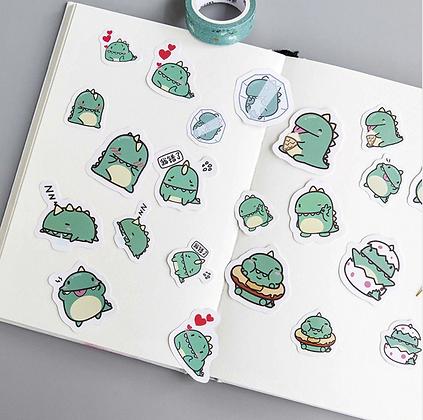 40 Pieces Diy Cute Kawaii Papers Little Green Dinosaur Stickers