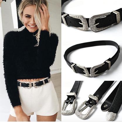 Fashion Vintage Boho Metal Leather Double Buckle Waist Belt