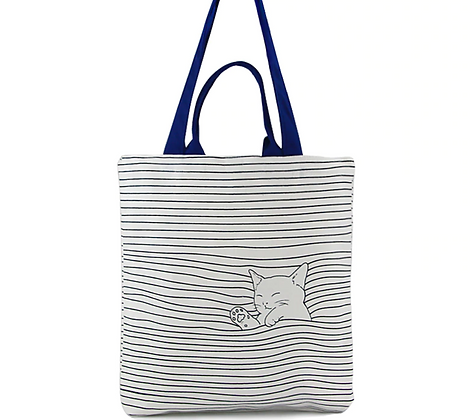 Cute Checked Cat Cotton Canvas Handbag/ Tote Bag