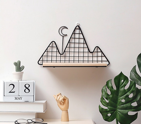 Mountain and Moon Wall Shelf Decoration