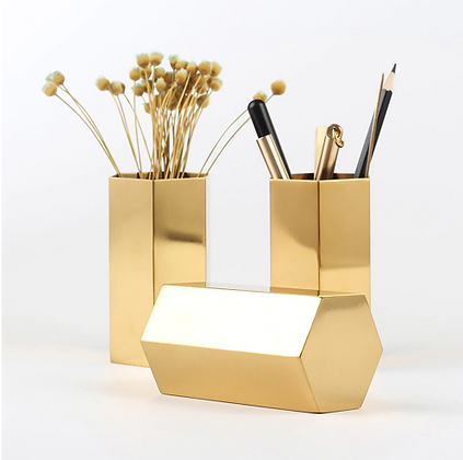Stainless Steel Hexagon Pencil Holder Vase