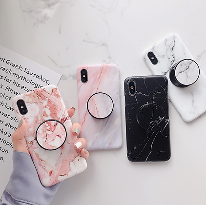 Marble Phone Case with a Pop Socket Grip