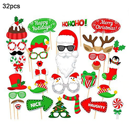 Funny Christmas Photobooth Props Decoration