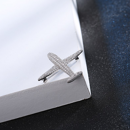 Silver Airplane Brooch Pin