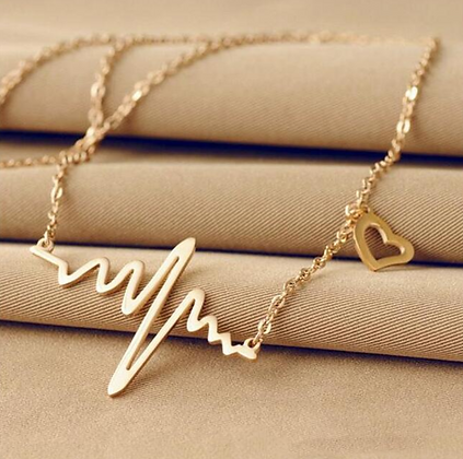 Electrocardiogram Gold Necklace