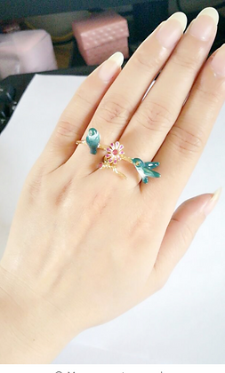 Cute Enamel Ring with Birds