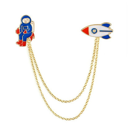 Astronaut Rocket Charm Brooch Pin
