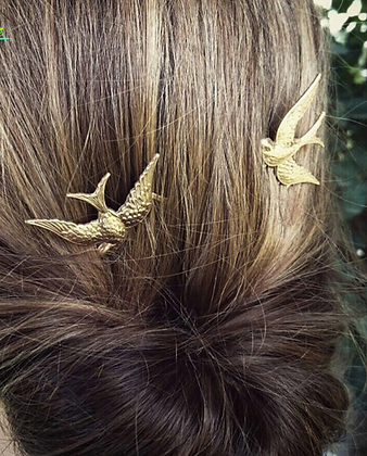 Vintage Rustic Gold Swallow Bobby Pin Wedding Hair Accessories