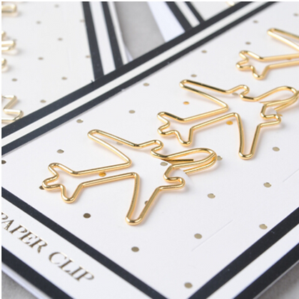 Gold Airplane Paperclips Bookmark