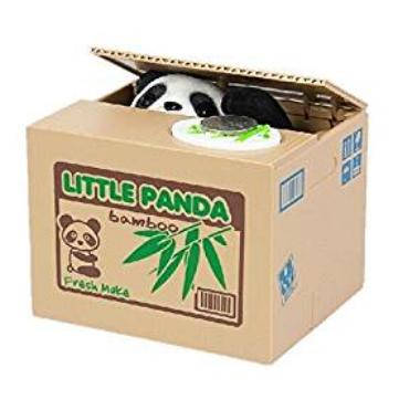 Sneaky Panda Stealing Coins Money Savings Box Piggy Bank
