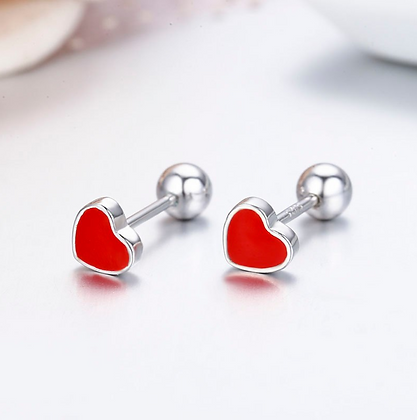 Cute Small Red Heart 925 Sterling Silver Stud Earrings