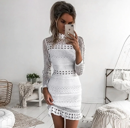 Women White Lace Patchwork Dress