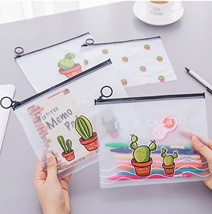 Pencil/ Make-up/ Cosmetics Cactus Case Transparent