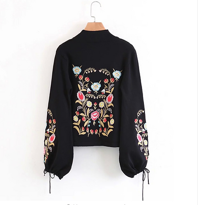 Black Embroidery Winter Sweater