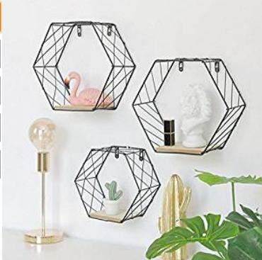 Hexagonal Hanging Wall Shelf