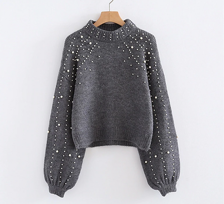 Oversized Sweater with Pearls
