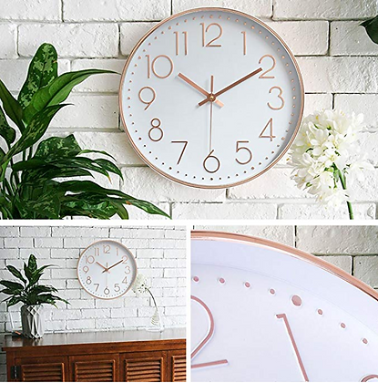 Rose Gold Wall Quartz Clock