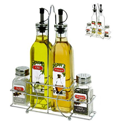 Vinegar & Oil Dispenser Salt Pepper Shaker Set Tableware Serving Set with Basket