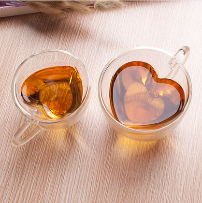 Heart shaped double glass mug