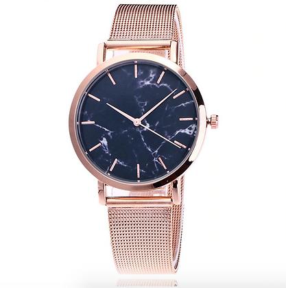 Rose Gold Mesh Wrist Marble Quartz Watch