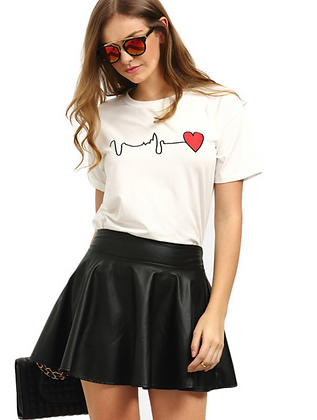 Summer White T-Shirt Heartbeat