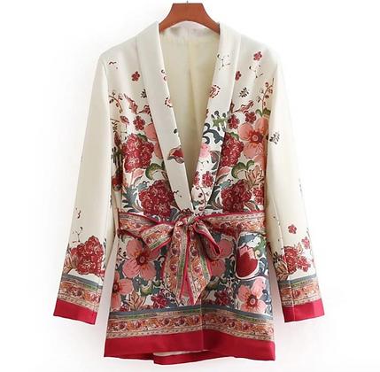 Floral Blazer with a Belt