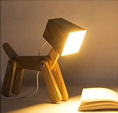 Wooden Dimmable Dog Desk Lamp Table