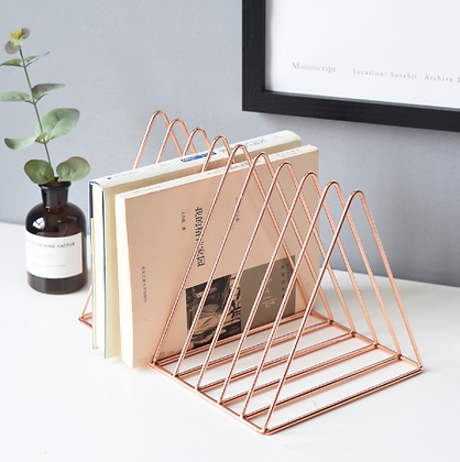 Luxury Rose Gold Metal Bookshelf Storage Rack