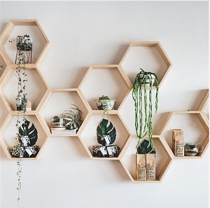 Modular Wooden Shelving Hexagon Shelf