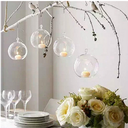 Hanging Glass Bubble Tealight Holder