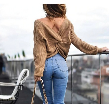 Knitted Backless Sweater