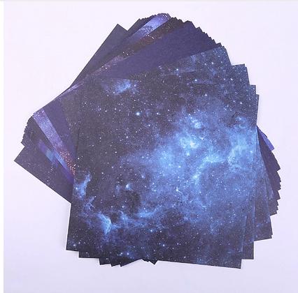 Origami Mini Diy Blue Sky Paper Sheets Star Sky Pattern Stationary Set