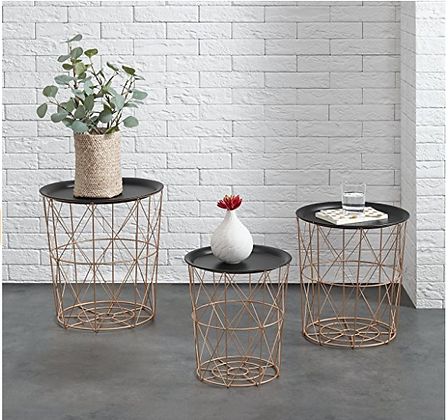Set of 3 Metal Baskets Coffee Table