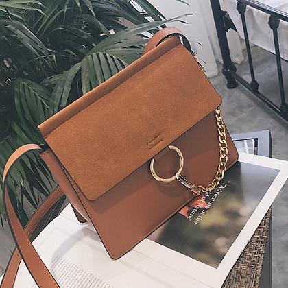 Nubuck Leather Shoulder Handbag Purse